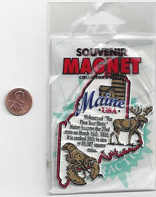 MAINE STATE  INFORMATION MAGNET in SOUVENIR BAG    EDUCATIONAL  5-COLOR