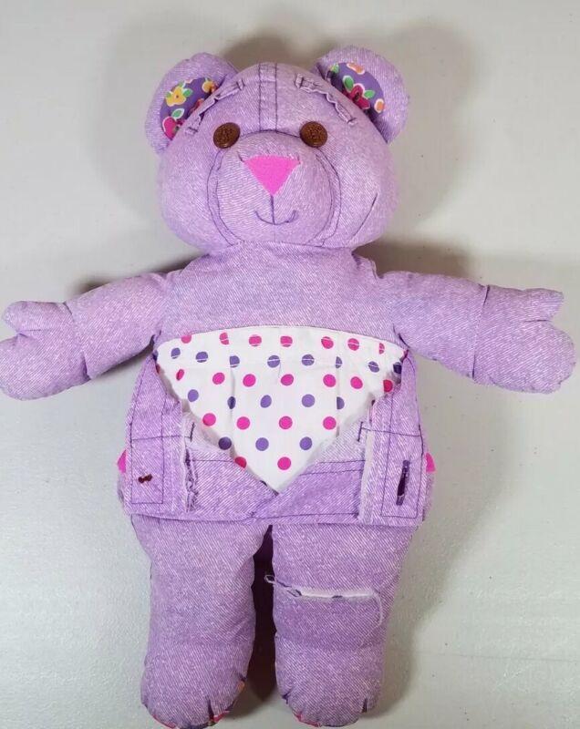 Vintage 1995 Purple Tyco Doodle Bear Stuffed Animal Plush - Draw on - Washable