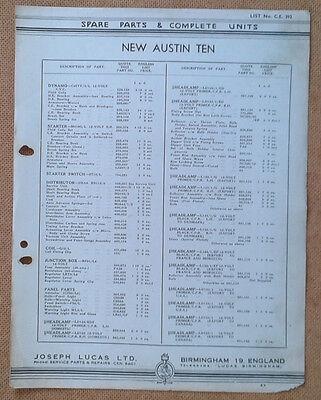 Austin New Ten  1939  Lucas Parts List 392  Others available