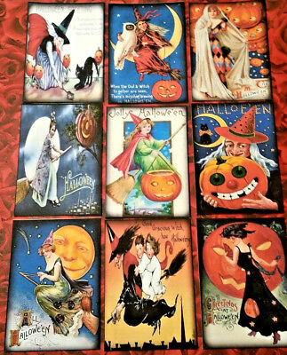 9 Halloween Witches~Pocket Cards~No Protector~Scrapbooking~Card Craft Making](Making Halloween Cards)
