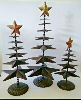 "3 Rustic Metal Christmas Trees Table Top Holiday Decor Stars 18""-14""-11.5"" tall"
