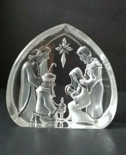 """Mats Jonasson Etched Nativity Christmas Scene Sweden Signed and Numbered 6 1/2"""""""