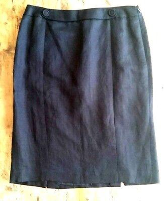 Ann Taylor LOFT Black Linen Blend Straight Skirt Double Back Kick Pleat SZ (Double Back Pleat Skirt)