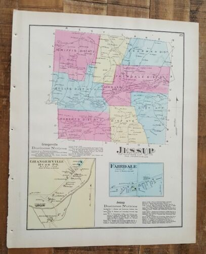 ANTIQUE Colored Map JESSUP & FAIRDALE, PENNSYLVANIA / A. Pomeroy & Co. 1872