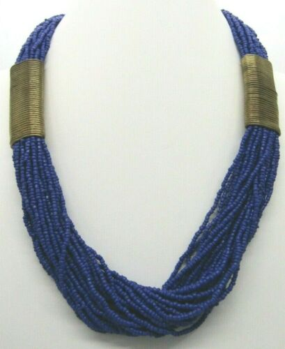 """Vintage Boho Multi Strand Blue Micro Seed Beads Wrapped Brass Wire Necklace 24"""""""