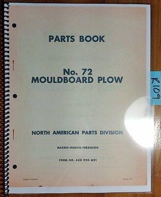 Massey Harris Ferguson No. 72 Moldboard Plow Parts List Manual 650 990 M91 1157