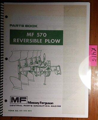 Massey Ferguson Mf 570 Mf570 Reversible Plow Parts Book Manual 651 362 M92 180