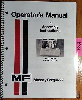 Massey Ferguson Mf 3650 Pto Rotary Tiller Owner Operator Assembly Manual 577
