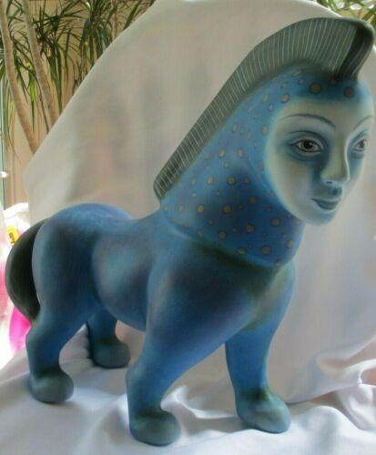 LARGE ALEXANDER FLORES LIMITED EDITION SURREAL HORSE WOMAN FACE SCULPTURE 52/200