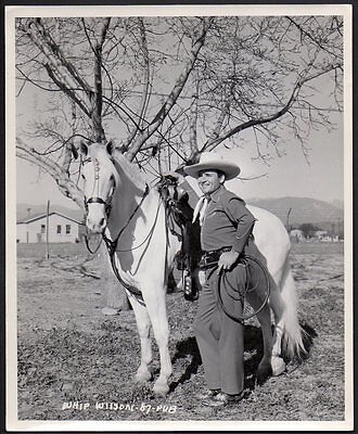 WHIP WILSON cowboy actor lariat & horse VINTAGE ORIG PHOTO 8x10 western films