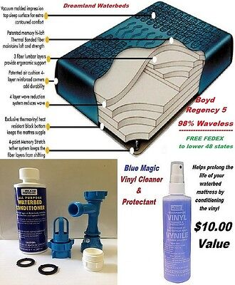 QUEEN Boyd Regency 5-98% Waveless Tethered Waterbed Mattress+Kit & Vinyl Cleaner ()