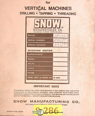 Snow Dr-12l Drill Tap Threading Machines Operations Electrical Parts Manual