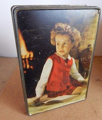 1960's Edward Sharp & Sons large toffee tin . Girl in front of fire 26cm x17cm