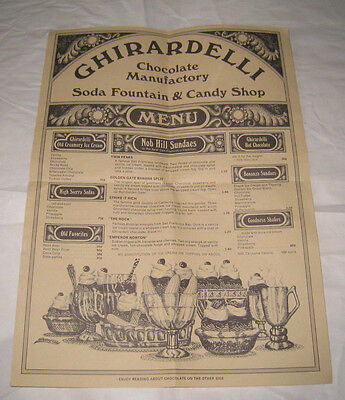 Vintage Ghirardelli Chocolate Manufactory Soda Fountain & Candy Shop Menu