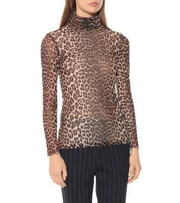 Ganni Tilden Leopard Print Mesh Roll Neck Top NWT $115 Womens sz 34