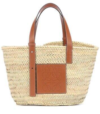 NEW Authentic Loewe Raffia Basket Tote Bag Straw Tan