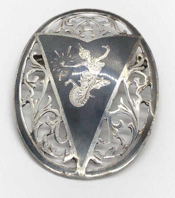 Vintage Sterling Silver Brooch Pin 925 Siam Niello Enamel Dancer