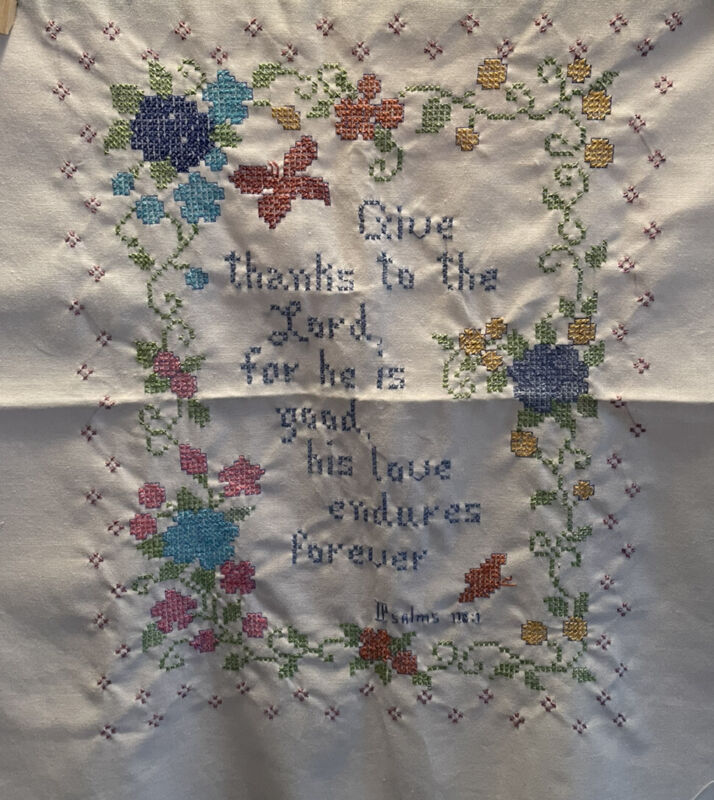 Completed Cross Stitch Psalm 118:1 Bible Verse Not Matted 10 x 13 Vintage?