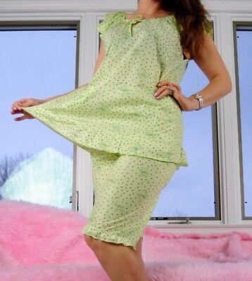 Cute SISSY teddy bear hearts girly soft top sleep shirt shorts pajama set sz M/L - Sissy Pajamas