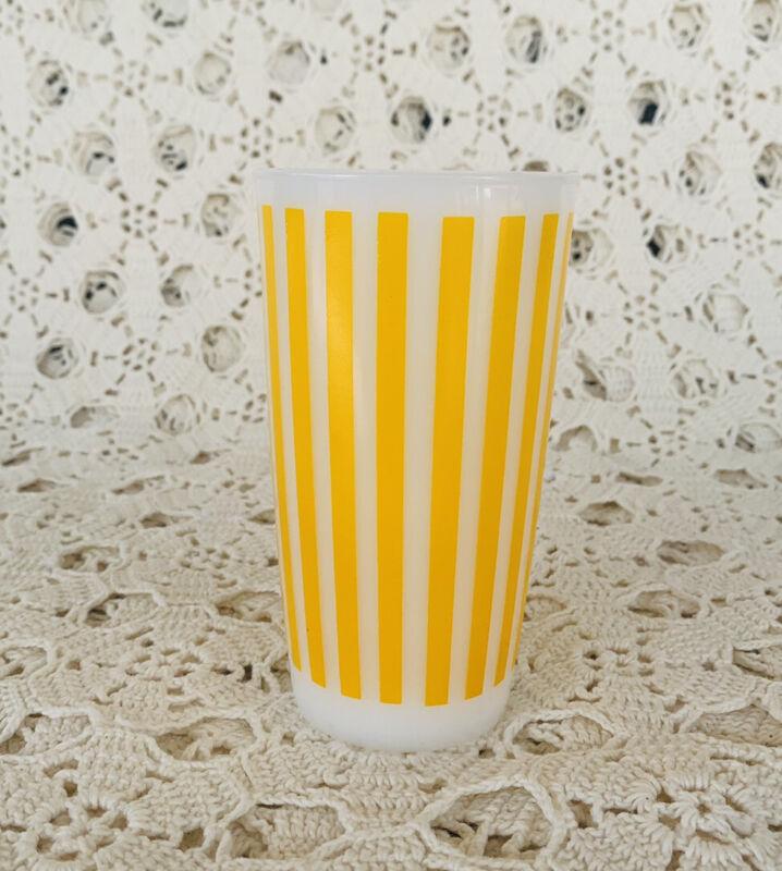 Vintage Hazel Atlas Yellow Candy Stripe Milk Glass Tumbler