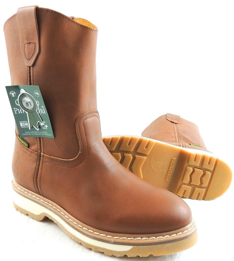 Boots - MEN'S WORK BOOTS GENUINE LEATHER HONEY COLOR WESTERN COWBOY PULL ON BOOTS