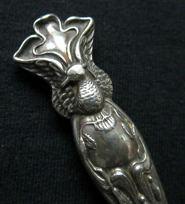 Antique Marked STERLING SILVER Rare Bird Eagle Peacock Flower Lasagna Server - Antique Lasagna Server