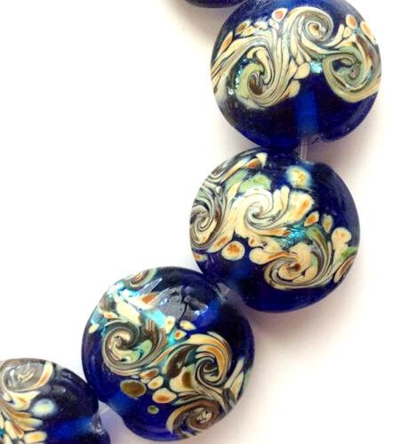 Handmade Lampwork Glass Beads 15mm Lentil Sparkling Blue 4 Beads (#a4s)