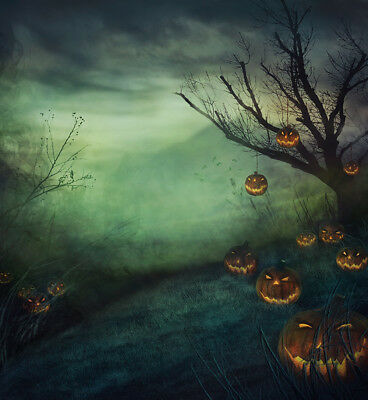 Halloween Backdrop Photography Prop Studio Photo Background Spooky Tree Pumpkin - Halloween Spooky Backgrounds