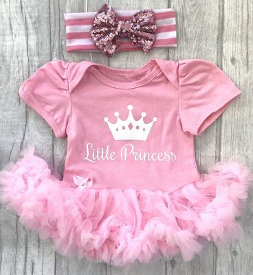 Cute Little Mädchen Kleider (LITTLE PRINCESS BABY GIRL'S PINK Tutu Romper Dress NEWBORN Present Love Cute)