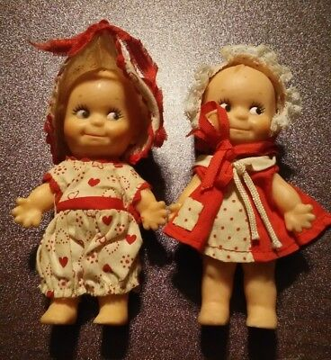 "2 Vintage Kewpie Dolls 4.5"" Soft Rubber Toy Cupie  cupid"