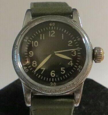 Waltham A-11 WWII Watch, 6/0 '42, U.S. Army, Hacking, Working