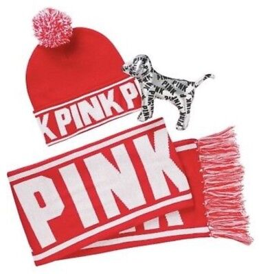 NEW Victoria's Secret PINK Beanie Hat~Scarf~Mini Dog Red Acessories Gift Set