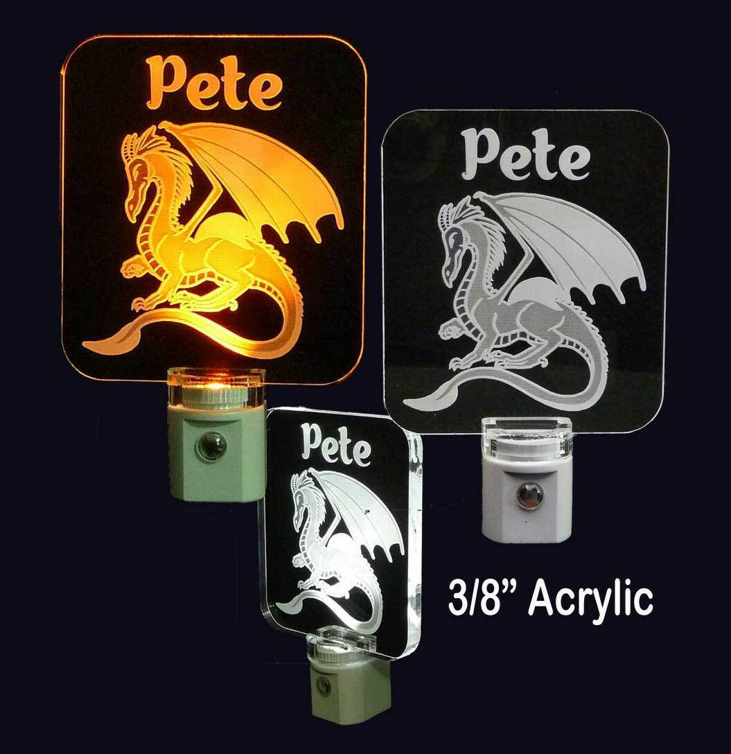 "Personalized Dragon LED Night Light - Lamp 3/8"" Acrylc - Uni"