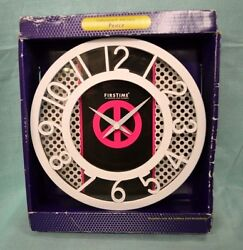 NW WALL Clock RETRO PEACE Sign Battery Large 8 FACE Home DORM White PINK TIME