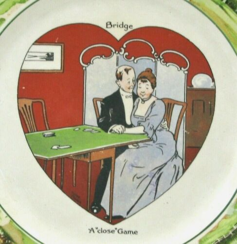 Antique Warwick Ware Bridge Close Game Heart Valentines Victor Venner Plate 1910