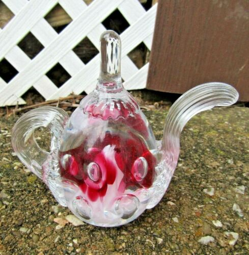 VINTAGE JOE ST. CLAIR ? CRYSTAL GLASS TEAPOT RING HOLDER PAPERWEIGHT