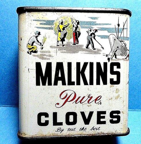 "Vintage ""Malkin"" Brand Cloves Spice Tin #2  FREE SHIPPING"