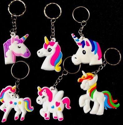 1 X Rainbow Rubber Unicorn Keyring Keychain Bag Charm Party Bag Filler 6 Designs