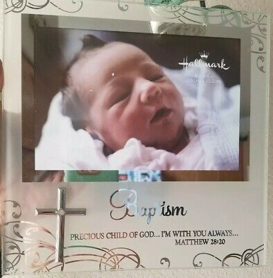 """Baptism Frosted Glass Picture Frame w/Cross & Swarovski Holds 4""""X6"""" Picture NEW"""
