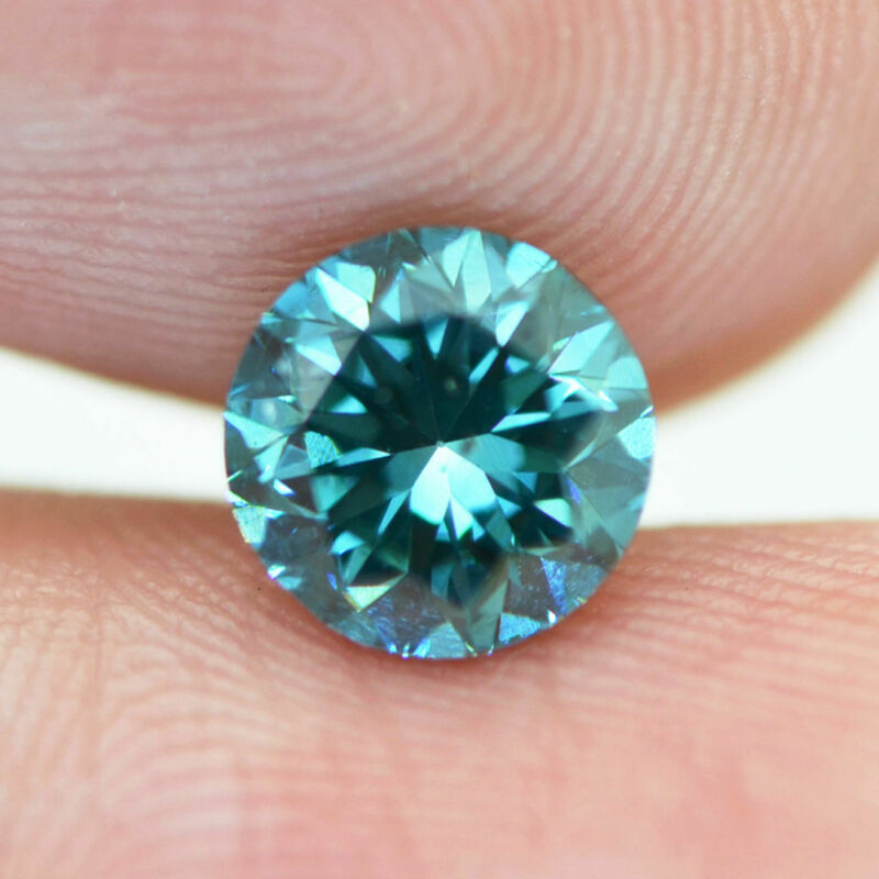 Loose Diamond Fancy Blue Round Enhanced 1.30 Carat Vs2 Certified 6.56x6.47 Mm