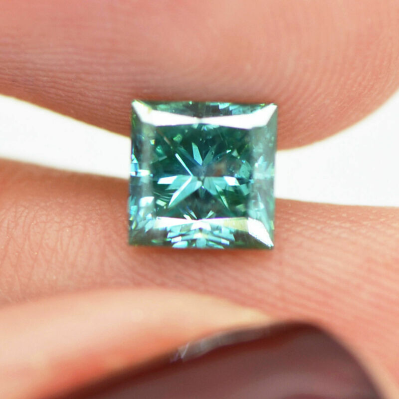Fancy Turquoise Diamond Princess Cut Loose 1.27 Carat Si2 Enhanced 5.71x5.72mm