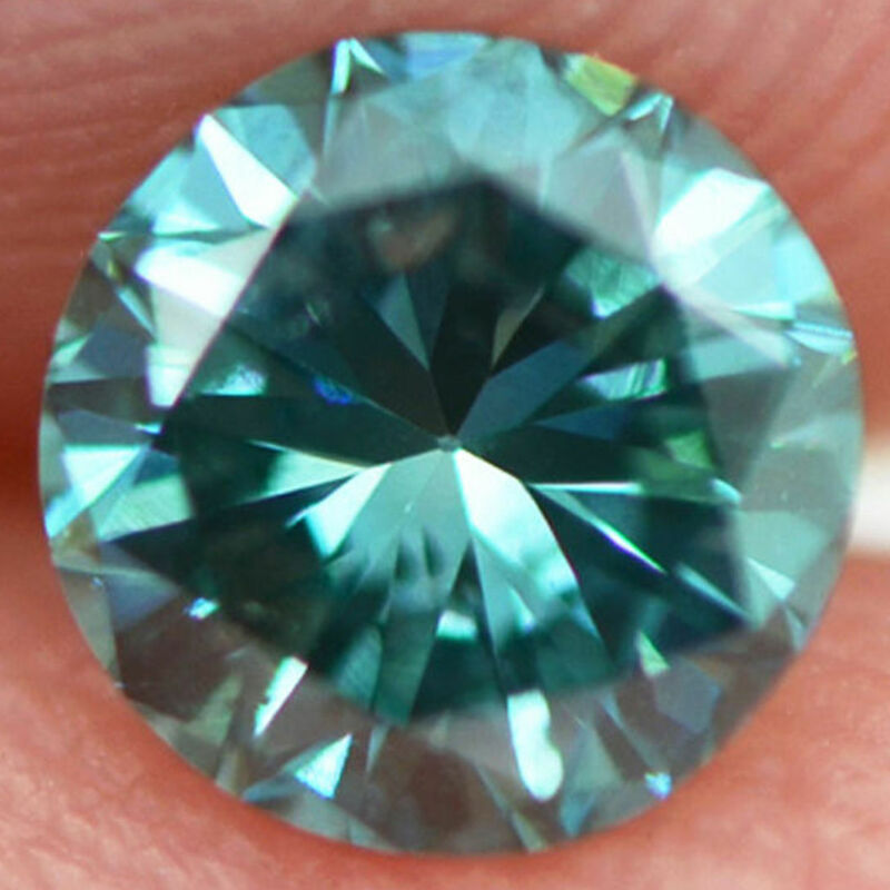 Round Cut Diamond Fancy Blue 0.45 Carat Vs2 Natural Enhanced Certified For Ring