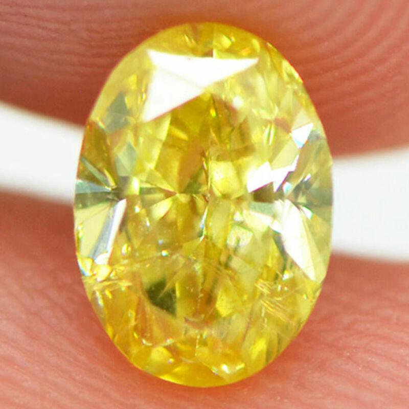 Loose Oval Cut Diamond Fancy Yellow Natural Enhanced 0.85 Carat Vs1 Certified