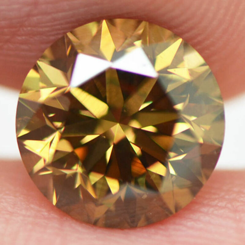 Loose Round Cut Diamond Fancy Brown 2.50 Carat Enhanced Vs2 For Engagement Ring