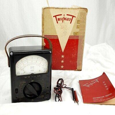 Triplett Model 630 Volt-ohm-ammeter W Box Manual -original-bakelite