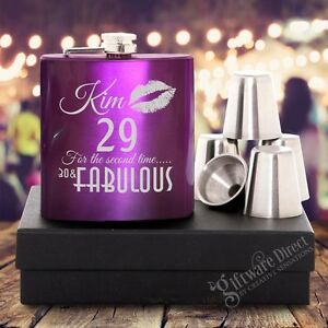 Engraved 7oz Personalised Purple Birthday Hip Flask GIFT SET 18th, 21st, 40th