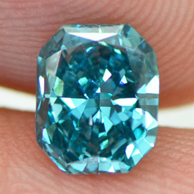 Radiant Cut Diamond Fancy Blue Color Enhanced Certified 0.94 Carat Vs2 For Ring