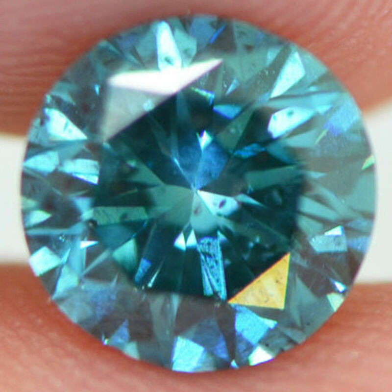 Loose Diamond Round Shape 1.27 Carat Fancy Blue Si1 Enhanced For Engagement Ring