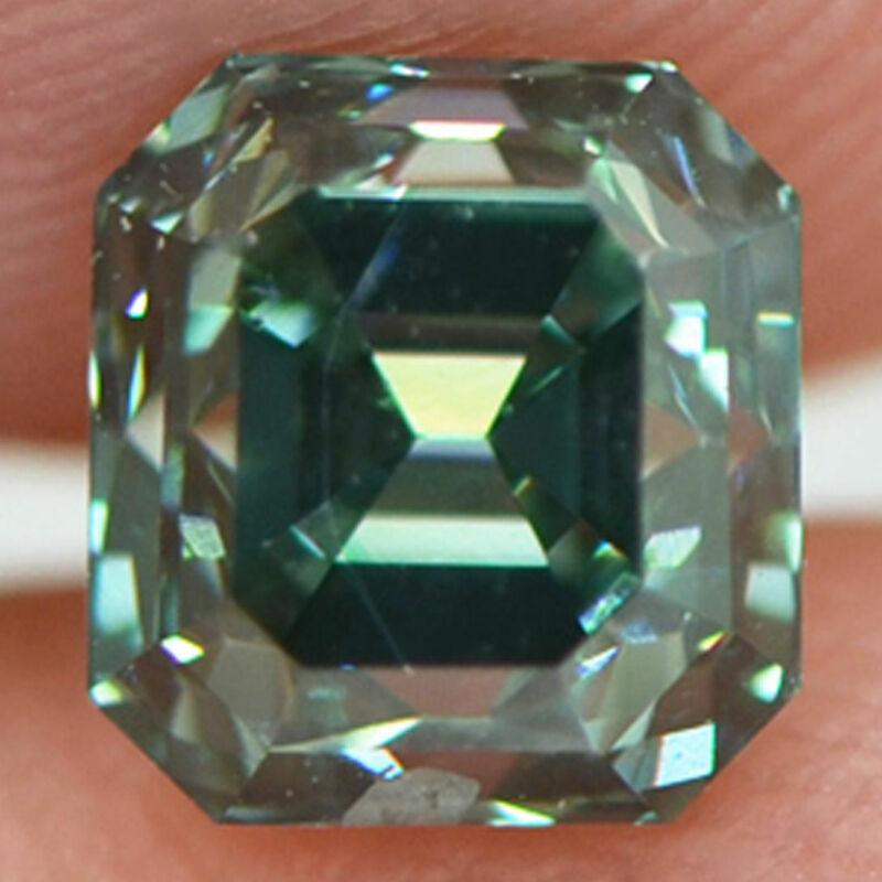 Asscher Cut Diamond Fancy Green Color Loose 0.90 Carat SI1 Enhanced Polished