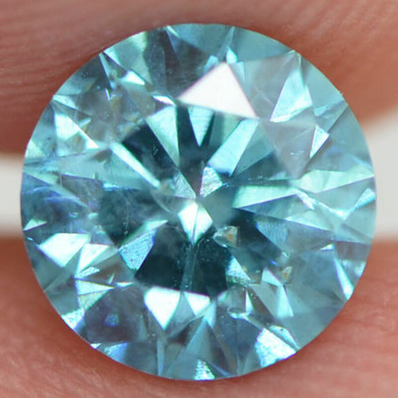Loose Blue Diamond Fancy Round Shaped Enhanced 1.02 Carat Si2 Certified 6.35 Mm